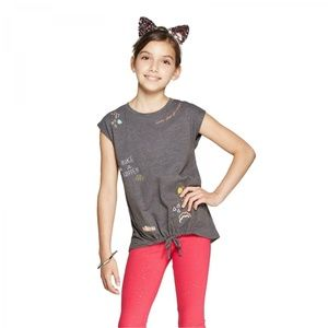 NWT Cat & Jack Imagination Graphic Top Large Gray